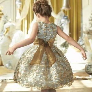 ISABEL GARRETON GOLD SEQUIN SWIRLS DRESS